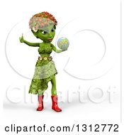 3d Green Nature Woman Wearing Leaves And Flowers Giving A Thumb Up Holding And Looking At Earth Over White With Shading