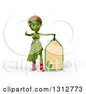 Clipart Of A 3d Green Nature Woman Wearing Leaves And Flowers Giving A Thumb Up And Holding A Price Tag Over White With Shading Royalty Free Illustration