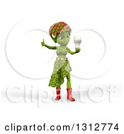 3d Green Nature Woman Wearing Leaves And Flowers Giving A Thumb Up And Holding An Led Light Bulb Over White With Shading