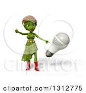 3d Green Nature Woman Wearing Leaves And Flowers Giving A Thumb Up And Pointing To An LED Light Bulb Over White With Shading