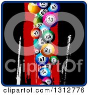 Clipart Of 3d Colorful Bingo Or Lotter Balls Falling Over A Grungy Black And Red Background With A Blue Border Royalty Free Vector Illustration