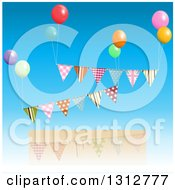 Clipart Of A Patterned Bunting Banners Floating With Colorful Party Balloons Over A Frame And Blue Sky Royalty Free Vector Illustration by elaineitalia
