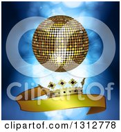 Clipart Of A 3d Gold Disco Ball Over A Gold Crown And Ribbon Banner Over Blue Lights And Flares Royalty Free Vector Illustration by elaineitalia
