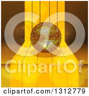 Clipart Of A 3d Gold Disco Ball On A Step Over Lights And Flares Royalty Free Vector Illustration