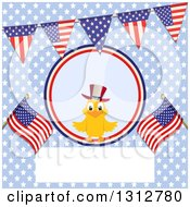 Clipart Of A Happy Patriotic Chick On An Independence Day Background Of American Flags Stars And A Blank Frame Royalty Free Vector Illustration by elaineitalia