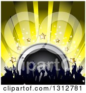 Clipart Of A 3d Music Speaker With Stars Yellow Rays And Silhouetted Hands From A Dancing Crowd Royalty Free Vector Illustration