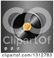 Clipart Of A 3d Vinyl Record On A Distressed Metal Player Royalty Free Vector Illustration by elaineitalia