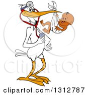 Clipart Of A Cartoon White Stork Bird Pediatric Doctor Holding A Stethoscope And Black Baby Boy In A Bundle Royalty Free Vector Illustration by LaffToon