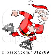 Clipart Of A Cartoon Santa Claus Ice Skating Royalty Free Vector Illustration by LaffToon