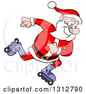 Clipart Of A Cartoon Santa Claus Inline Skating Royalty Free Vector Illustration
