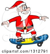 Clipart Of A Cartoon Santa Claus Skateboarding Royalty Free Vector Illustration by LaffToon