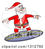 Clipart Of A Cartoon Santa Claus Surfing Royalty Free Vector Illustration by LaffToon