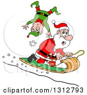 Cartoon Santa Claus Toboganning And Running Over An Elf