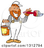 Cartoon Grinning Black Male Painter Holding A Brush And Bucket