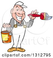 Clipart Of A Cartoon Grinning White Male Painter Holding A Brush And Bucket Royalty Free Vector Illustration