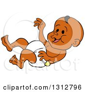 Clipart Of A Cartoon Laughing Black Baby In A Diaper Royalty Free Vector Illustration