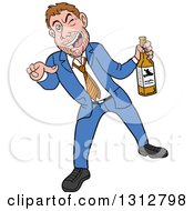 Cartoon Drunk White Businessman Holding A Bottle Of Alcohol And Pointing Outwards