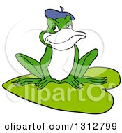 Clipart Of A Cartoon French Frog Sitting On A Lily Pad Royalty Free Vector Illustration