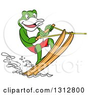 Clipart Of A Cartoon Frog Water Skiing Royalty Free Vector Illustration
