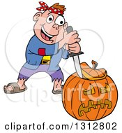 Cartoon Happy White Boy In A Pirate Costume Carving A Halloween Pumpkin