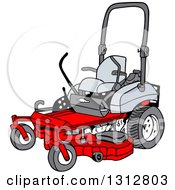 Clipart Of A Cartoon Red Riding Lawn Mower Royalty Free Vector Illustration