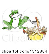 Cartoon Hungry Frog Eating Poutine French Fries And Gravy