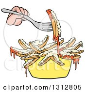 Clipart Of A Cartoon Caucasian Hand Using A Fork To Eat Poutine French Fries And Gravy Royalty Free Vector Illustration by LaffToon