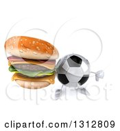 Clipart Of A 3d Soccer Ball Character Holding Up A Double Cheeseburger And Thumb Down Royalty Free Illustration