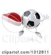 Clipart Of A 3d Soccer Ball Character Jumping And Holding A Beef Steak Royalty Free Illustration