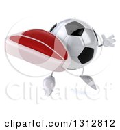 Clipart Of A 3d Soccer Ball Character Facing Slightly Right Jumping And Holding A Beef Steak Royalty Free Illustration