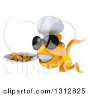 3d Happy Yellow Fish Chef Wearing Sunglasses Facing Slightly Left And Holding A Plate Of French Fries