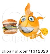 Clipart Of A 3d Happy Yellow Fish Holding A Double Cheeseburger Royalty Free Illustration