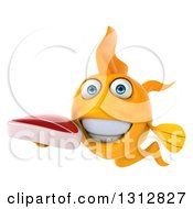 Clipart Of A 3d Happy Yellow Fish Holding A Beef Steak Royalty Free Illustration