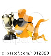 Clipart Of A 3d Happy Yellow Fish Wearing Sunglasses Facing Left And Holding A Trophy Royalty Free Illustration