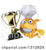 Clipart Of A 3d Happy Yellow Fish Chef Holding A Trophy Royalty Free Illustration