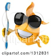 Clipart Of A 3d Happy Yellow Fish Wearing Sunglasses And Holding A Toothbrush Royalty Free Illustration