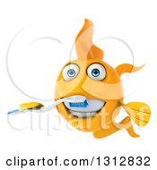 Clipart Of A 3d Happy Yellow Fish Brushing His Teeth Royalty Free Illustration