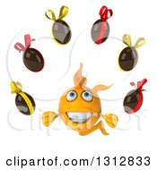 Clipart Of A 3d Happy Yellow Fish Juggling Chocolate Easter Eggs Royalty Free Illustration
