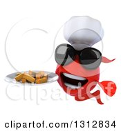 3d Red Fish Chef Wearing Sunglasses And Holding A Plate Of Fries
