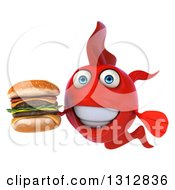 3d Red Fish Holding A Double Cheeseburger