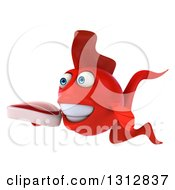 3d Red Fish Facing Slightly Left And Holding A Beef Steak