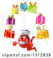 3d Red Sailor Fish Facing Slightly Left And Juggling Gifts