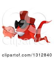 3d Red Fish Wearing Sunglasses Facing Left And Holding A Piggy Bank