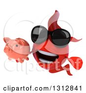 3d Red Fish Wearing Sunglasses And Holding A Piggy Bank