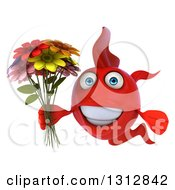 3d Red Fish Holding A Bouquet Of Flowers
