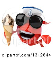 3d Red Sailor Fish Wearing Sunglasses And Holding A Waffle Ice Cream Cone