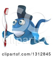 3d Blue Fish Facing Left And Holding A Toothbrush
