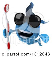 3d Blue Fish Wearing Sunglasses And Holding A Toothbrush