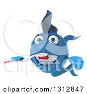 3d Blue Fish Brushing His Teeth