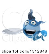 Clipart Of A 3d Blue Fish Holding A Plate Royalty Free Illustration